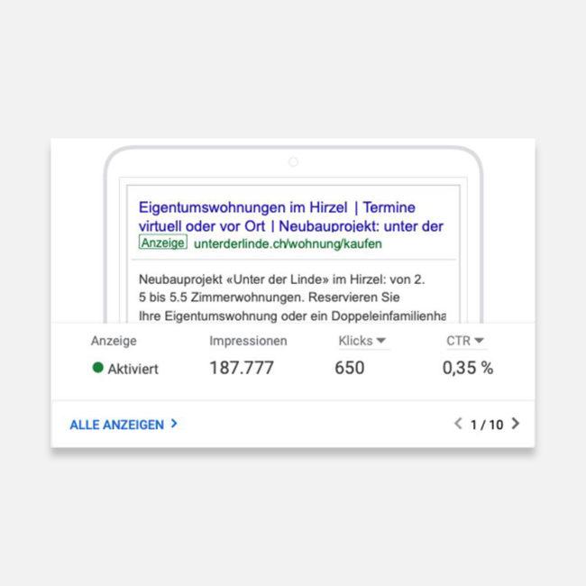 Unter der Linde Google Anzeige